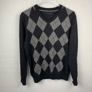 Zara Man Gray Argyle Long Sleeve Sweater